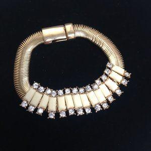 Banana Republic Snake Ivory & Rhinestone Bracelet